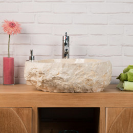Roc large cream marble countertop bathroom sink