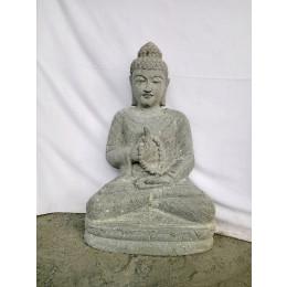 Sculpture de Bouddha en pierre volcanique chakra et chapelet 80cm
