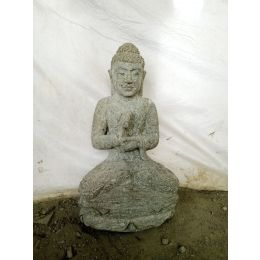 Sculpture en pierre volcanique de Bouddha position chakra jardin 50 cm