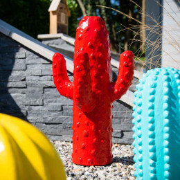 sculpture moderne cactus rouge 50cm