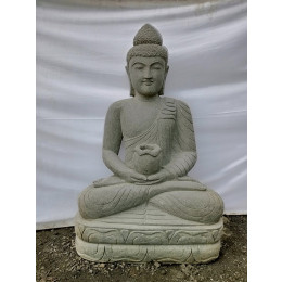 Seated Buddha volcanic rock garden statue bowl 120 cm