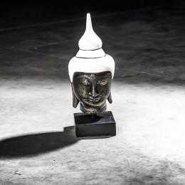 Small white Buddha head - 40 cm