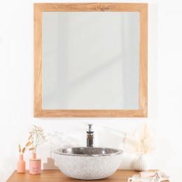 Square solid teak mirror 70 cm