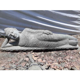 Statue Bouddha allongé en pierre volcanique 1m55