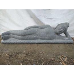 Statue Bouddha allongé en pierre volcanique extérieur 1m50