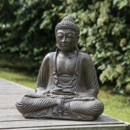 Statue Bouddha assis position offrande brun 42 cm