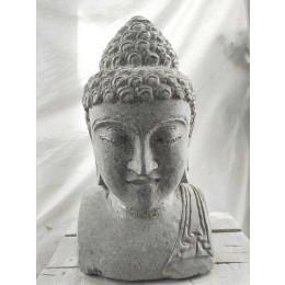 statue buste de Bouddha en pierre volcanique 43 cm jardin