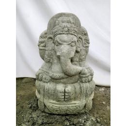 Statue d'extérieur en pierre volcanique Ganesh 50 cm