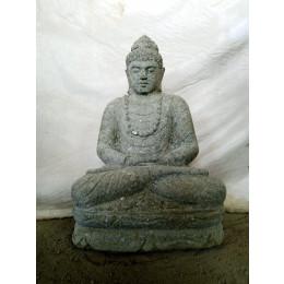 Statue de Bouddha en pierre assis jardin zen collier 80 cm
