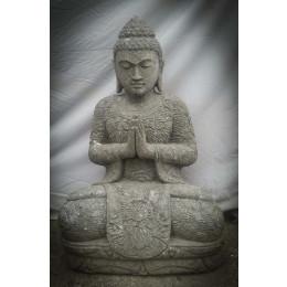 Statue de Bouddha en pierre naturelle de jardin position prière 80cm