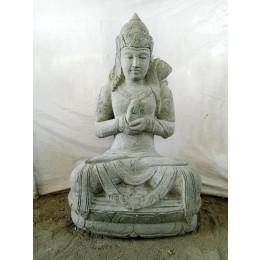 Statue de jardin déesse Dewi Sri en pierre volcanique 100 cm