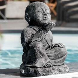 Statue de jardin moine Shaolin heureux patiné gris 40 cm