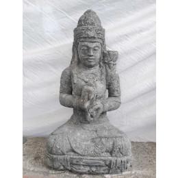Statue déesse assise en pierre jardin zen fleur 80 cm