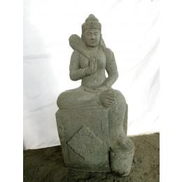 Statue déesse balinaise à genou en pierre naturelle 100 cm