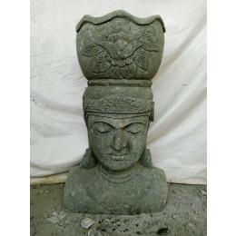 Statue exterieur visage déesse balinaise en pierre volcanique 120 cm