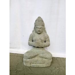 Statue déesse Dewi Tara balinaise assise en pierre naturelle 50 cm