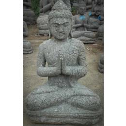 Statue en pierre jardin exterieur Bouddha position prière 60 cm