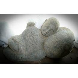 Statue en pierre moine Shaolin en pierre naturelle jardin zen 1 m