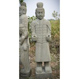 Statue en pierre naturelle soldat officier armée de Xian 1.50 m