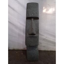 Statue en pierre volcanique moaï visage allongé 60cm