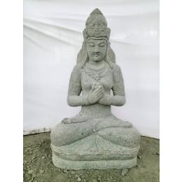 Statue extérieur déesse balinaise fleur assise pierre volcanique 120cm
