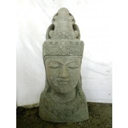 Statue exterieur pot déesse balinaise en pierre volcanique 70 cm