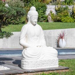 Statue jardin Bouddha assis en fibre de verre position chakra 150 cm blanc