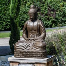Statue jardin Bouddha assis en fibre de verre position chakra 150 cm brun