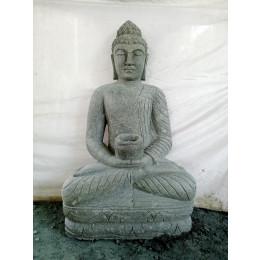 Statue jardin exterieur Bouddha assis pierre volcanique collier 1m20