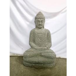 Statue jardin zen exterieur Bouddha assis pierre volcanique collier 80 cm