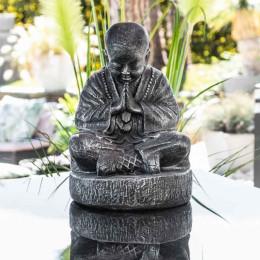 Statue moine shaolin assis gris patiné 40 cm