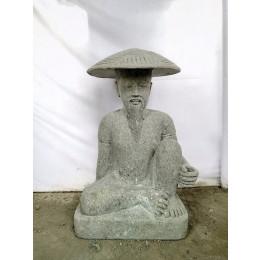 STATUE PÊCHEUR JAPONAIS EN PIERRE VOLCANIQUE DE 80 CM