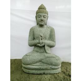 Statue zen Bouddha assis en pierre volcanique position Chakra 80cm