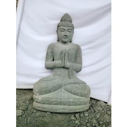 Statue zen en pierre Bouddha position priere jardin 1 m
