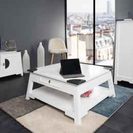 Table basse en bois acajou Thao blanc 85