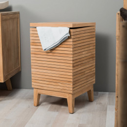 Teak laundry basket
