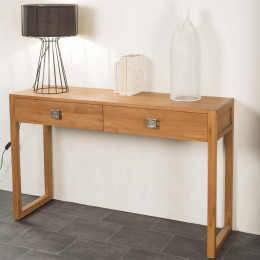 Solid teak console table for hallway, bedroom, living room