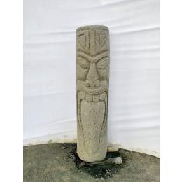 Tiki polynésien statue en pierre volcanique extérieur 1m