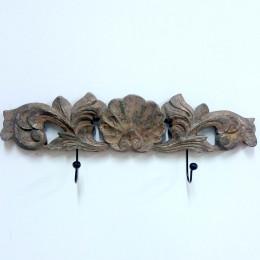 Toallero de pared doble gancho barroco bronce