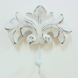 Toallero de pared gancho barroco blanco