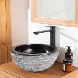 Vasque à poser en pierre marbre Vésuve noir 35cm