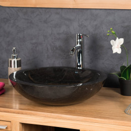 Lavabo Vasque Ronde BARCELONE à poser en marbre de couleur noir - Diamètre 45 cm