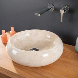 Vasque ronde en marbre à poser VENISE crème 40cm