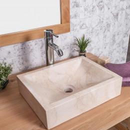 Vasque salle de bain à poser ALEXANDRIE rectangle 30cm x 40cm crème