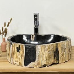 Vasque salle de bain en bois fossilisé pétrifié à poser 75 cm