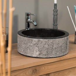 Vasque salle de bain en marbre ELBE noir 40cm