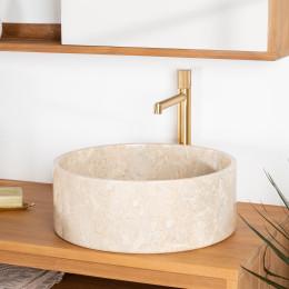 vasque salle de bain en marbre Ulysse 40 cm crème