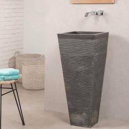 Vasque salle de bain sur pied en pierre carré GUIZEH noir