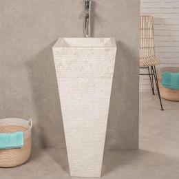 Vasque salle de bain sur pied en pierre pyramide GUIZEH crème