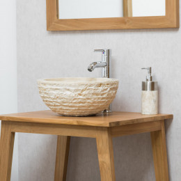 Vesuvius cream round stone countertop sink 35 cm